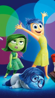 Pixar's Inside Out - Joy, Sadness and Disgust - such a cute movie