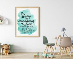 Be Strong And Courageous, Joshua 1:9, Bible Verse Printable Wall Art by LilaPrints. Christian Gifts Nursery Decor, Bible Quotes Scripture Print Kids Room #printable #homedecorideas #bedroomdecor #art