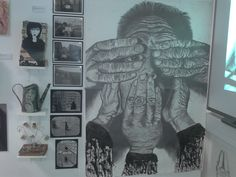 AS Art work displayed in the exhibition at college. My theme revolved around strangers & movements. The large pencil & graphite stick piece was for my 8 hours exam. See no evil, hear no evil, speak no evil.