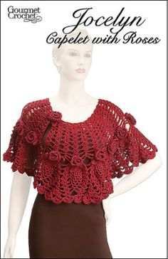 Crochet a beautiful, romantic capelet featuring a graceful combination of pineapple lace and three-dimensional roses and leaves. Made with soft worsted-weight yarn.
