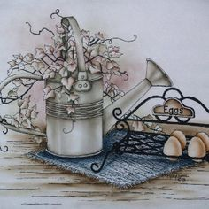 Fresh Eggs Tole Painting, Ink Painting, Watercolor Paintings, Pen And Wash, Ink Wash, Primitive Pictures, Arte Country, Stencil, Burlap Crafts