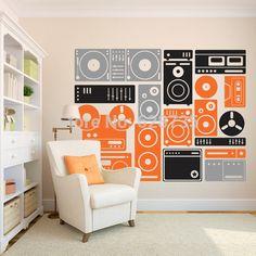 200 x 155 cm Extra grande equipo de música Wall Art Decor pegatinas, Custom Vinyl Wall Sticker música, envío gratis DJ calcomanías A2051(China (Mainland))