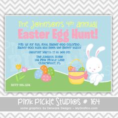Easter Egg Hunt Personalized Party Invitation-personalized invitation, photo card, photo invitation, digital, party invitation, birthday, shower, announcement, printable, print, diy,Bunny, easter,