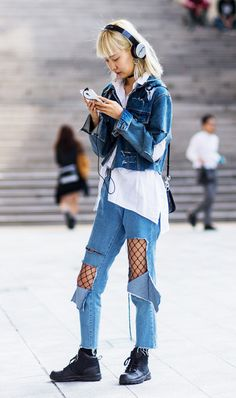 Wear a pair of fishnets under super distressed denim