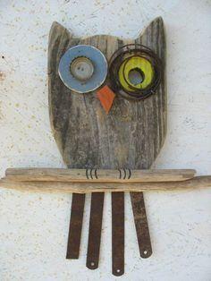 Owl wall hanging recycled barn wood rusty metal eyes tail rustic primitive folk art
