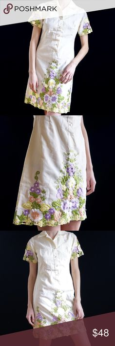 5e826cd32a Vintage 60s floral embroidered midi dress Amazing vintage 60s collared  dress. Crisp off white base
