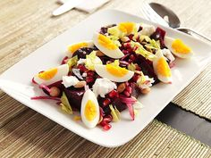 Roasted Beet Salad with Goat Cheese, Eggs, Pomegranate, and Marcona Almond Vinaigrette. #recipe