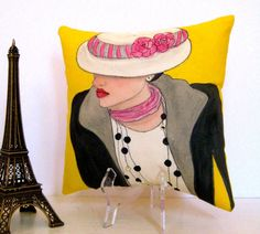 new...GABRIELLE FASHION PILLOW hand painted pillow by priscillamae $42.00
