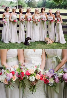 flowing bridesmaid dresses and pops of summer color