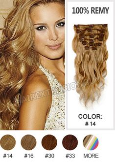 """Clip In Human Hair Extension,18"""" #14 Wave 9pcs Full Head Set Clip In Human Hair Extension [CRHWED1814] - www.hairextensionbuy.com"""
