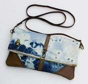 Image of hand bleached denim foldover bag with removable leather strap (c)
