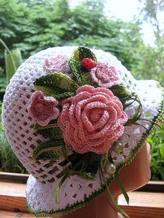 Custom Order Hat Brim in White with Flowers Crochet by ninellfux
