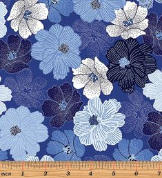 Sold by the yard (Multiple quantities will be in a continuous piece) Blue Brilliance - Packed Shimmer Flower Blue Pearlescent Fabric by Greta Lynn for Kanvas Studio - Benartex SKU: Cotton Fabric enhanced with Pearlescent Width: Fabric Patterns, Print Patterns, Foyer Wallpaper, Flower Art Drawing, Blue And White Fabric, Penguin Art, Metallic Prints, Liberty Print, Color Stories