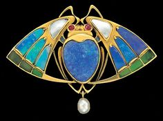 Jugendstil brooch: gold, opal, plique-a-jour enamel, ruby and pearl. Georg Kleemann, Germany, 1902.