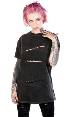 Sid Safety Pin Tee #disturbiaclothing disturbia vintage washed inside out slashed repaired metal alien goth occult grunge alternative punk