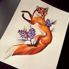 watercolour fox tattoo - Google Search