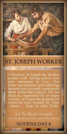 St Joseph the Worker St Joseph Prayer, St Joseph Catholic, Saint Joseph, Catholic Saints, Roman Catholic, Catholic Prayers Daily, Novena Prayers, Catholic Quotes, Religious Quotes