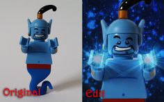 Original and Photoshop edit from one of my Lego Project 365 photos on Instagram! (140/365) Featuring Lego Minifigure Genie - Disney's Aladdin - granting a wish.