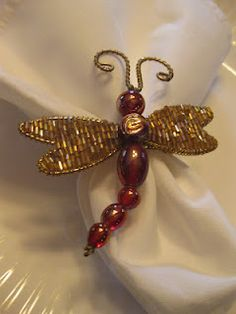 Pier 1 Beaded Dragonfly Napkin Ring