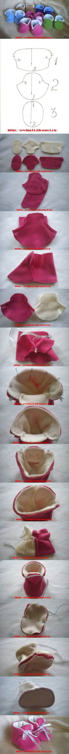 DIY Fleece Booties diy sew craft crafts sewing how to tutorial diy craft sewing tutorials Fabric Crafts, Sewing Crafts, Sewing Projects, Diy Projects, Fleece Projects, Baby Patterns, Doll Patterns, Sewing Patterns, Crochet Patterns
