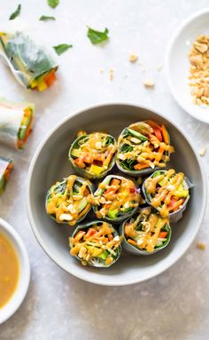 Thai Summer Rolls with Peanut Sauce - a healthy, fresh, colorful recipe. Also: THAT SAUCE! So good! Vegan. | pinchofyum.com