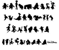 winnie the pooh and friends silhouette Cartoon Silhouette, Bear Silhouette, Silhouette Tattoos, Silhouette Curio, Silhouette Cameo Projects, Glitter Tattoo Stencils, Disney Themed Nursery, Disney Cartoon Characters, Images Disney