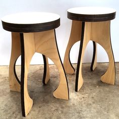 Efficient use of materials the Alien stool has little waste in production - laser cut parts nest together. Flat packs for delivery. Plantation E0 hoop pine