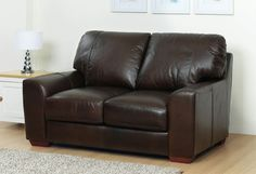 2 Seater Brown Leather Sofa Leather Sofa Decor, Comfy Sofa, Brown Sofa, 2 Seater Sofa, Love Seat, Brown Leather, Couch, Furniture, Home Decor