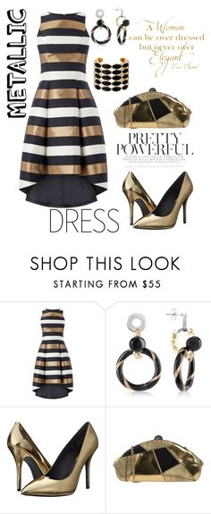 """metallicDress"" by aazraa ❤ liked on Polyvore featuring Antica Murrina, Pierre Balmain, Rodo, Chanel and House of Harlow 1960"