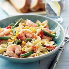 Pasta with Shrimp and Veggies by All You. MyRecipes recommends that you make this Pasta with Shrimp and Veggies recipe from All You Shrimp Recipes, Veggie Recipes, Fish Recipes, Pasta Recipes, Cooking Recipes, Healthy Recipes, Dinner Recipes, Recipe Pasta, Healthy Foods