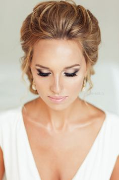 Wedding hairstyles wedding makeup | Timeless Weddings Company I love how the front of this style is I think it looks so detailed but is so simple!