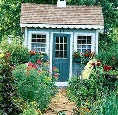 Fun She Shed Conversion Ideas Garden Shed Diy, Backyard Sheds, Outdoor Sheds, Small Outdoor Shed, Cottage Garden Sheds, Herb Garden, Shed Building Plans, Diy Shed Plans, Storage Shed Plans