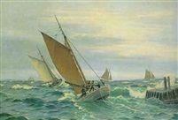 Marine med fiskekuttere Ved Molen af Christian Blache