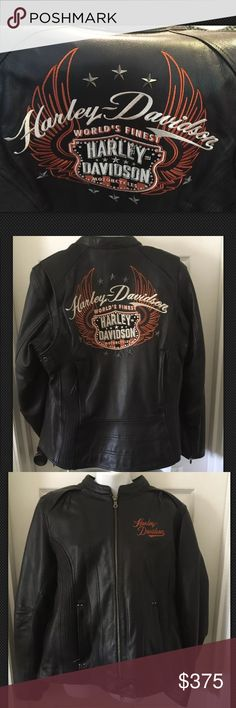 Harley Davidson 3-in-1 Leather Riding Jacket Wings Harley Davidson 3-in-1 Motorcycle riding jacket NWT. Size 1W but FITS SMALL compared to my other 1W HD leather jackets. Can be worn three ways: 1. Leather jacket only 2. Nylon hoodie only (with thumb holes) 3. Or the two pieces can be worn together Perfect except there is one tiny hole in the lining of the leather jacket where it looks like a price tag was attached or possible the inner jacket was attached. MORE PHOTOS IN ANOTHER LISTING…