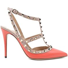 Valentino Garavani Shoes ($665) ❤ liked on Polyvore featuring shoes, pumps, heels, cdeep coral, heel pump, leather shoes, real leather shoes, valentino shoes and leather pumps