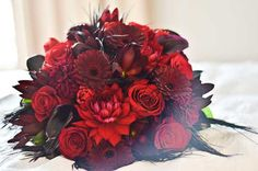 Kinsey's red + black bouquet (for a Tim Burton inspired wedding)