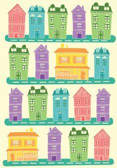 pretty little houses all in a row. Art Print