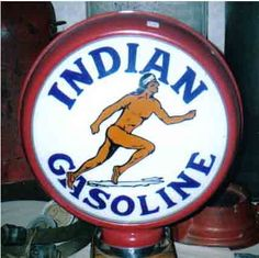 Indian gas pump globe.Very rare.This was a small regional retailer in the Ohio and Indiana area in the early 1900's.