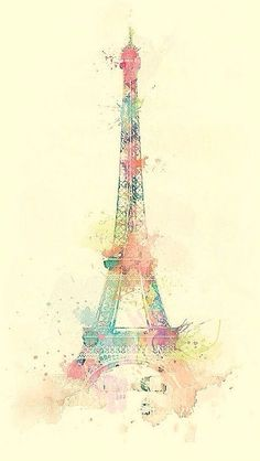 Eiffel Tower Watercolor Paint  #iPhone #5s #wallpaper