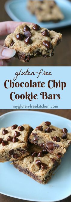 Gluten-free chocolate chip cookie bars recipe that's perfect for potlucks, lunchbox treats or even mailing to that someone special! Gluten Free Bars, Gluten Free Deserts, Gluten Free Sweets, Foods With Gluten, Gluten Free Baking, Dairy Free Recipes, Gluten Free Potluck, Gluten Free Vegetarian Recipes, Dessert Oreo