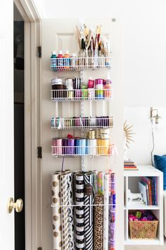 craft closet, wrapping station, organization, container store