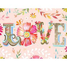 "Brighten up any room with this light pink ""Love""-themed giclee print."