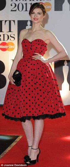 Sophie Ellis Bexter in vintage polka-dot dress at the 2011 Brit Awards, February 2011
