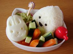 Cute bunny egg, rice ball, dip and vegetables