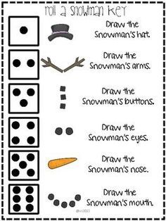Roll a Snowman: A Winter Freebie. The children can roll a giant dice after singing a snowman song then play this with partner Holiday Games, Holiday Activities, Classroom Activities, Holiday Fun, Christmas Party Games For Kids, Xmas Games, Writing Activities, Singing Time, Winter Kids