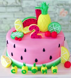 Cute tutti frutti cake for a kids party Half Birthday Cakes, 2nd Birthday Party For Girl, Funny Birthday Cakes, Fruit Birthday Cake, Birthday Cake For Husband, Watermelon Birthday, Homemade Birthday Cakes, Watermelon Cake, Birthday Ideas
