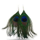 Natural Peacock Feather Earrings $5.99