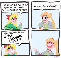 """Check Out These """"Punny"""" Sailor Moon Comics For a Quick Giggle Sailor Moon fan art featuring Minako/Sailor Venus (known as Mina to dub fans) running amok on a particularly hilarious pun spree. Sailor Neptune, Sailor Jupiter, Sailor Venus, Sailor Mars, Sailor Moon Funny, Sailor Moon Fan Art, Sailor Moon Character, Space Puns, Trauma"""