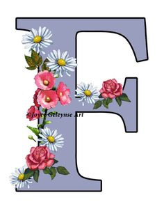 Letter F Initial Flower Covered Letter by FreshAirPrintables