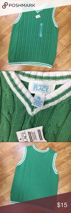 The Children's Place Green Cableknit Vest Boys 14 The Children's Place Green Cableknit Vest Boys NEW NWT 14 XL  New with tags.  Cableknit.  Green and white.  Super cute.  #easter #cableknit #vest #dressup #dapper #new #nwt #green #dontgetpinched #pinchproof #sweatervest #knit Children's Place Shirts & Tops Sweaters
